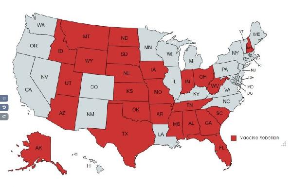 штаты, несогласные с антиковидной политикой Байдена