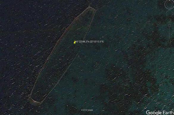 Таинственный объект упобережья Греции был найден наGoogle Earth