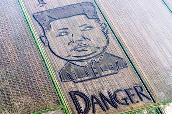 Итальянский художник изобразил на соевом поле Ким Чен Ына. Итальянский художник