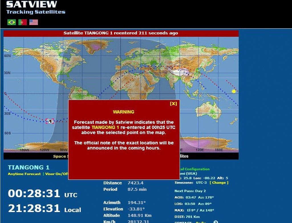 Горящая китайская космическая станция рухнула в океан. Горящая китайская космическая станци