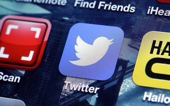 США - лидер по запросам в Твиттер об удалении информации. Логотип Twitter экране смартфона