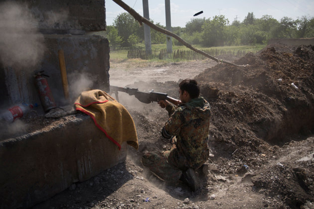 Славянск в данный момент - под минометным обстрелом. Ополченцы Славянска