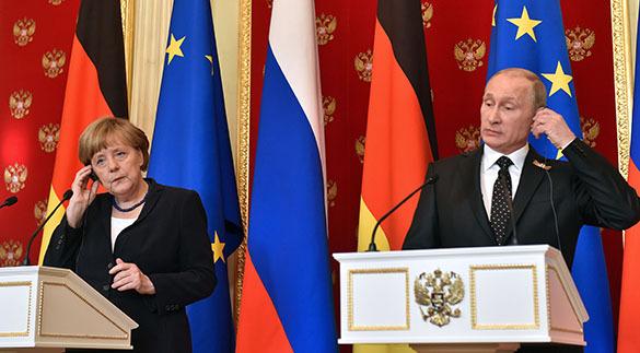 Ангела Меркель признала решающую роль Красной армии в победе над фашизмом. Владимир Путин и Ангела Меркель
