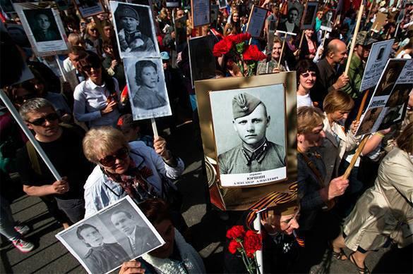В Киеве вывесили баннер с маршрутами Бессмертного полка в укра