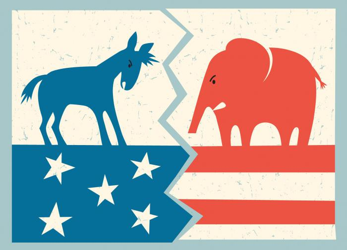 республиканцы против демократов, шарж
