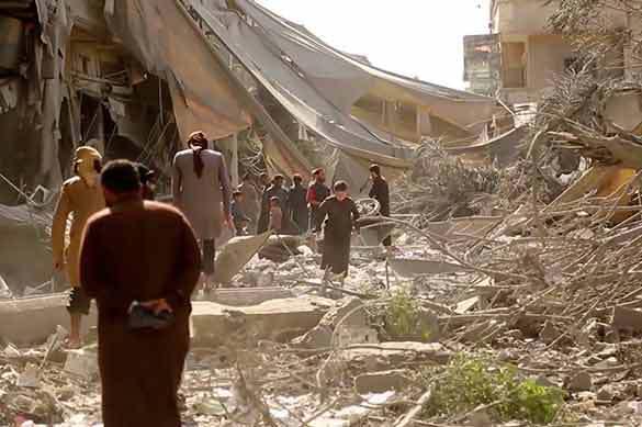 Последствия авиаудара войск международной коалиции в Сирии