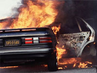 На Рублевском шоссе горит один из самых дорогих автомобилей в
