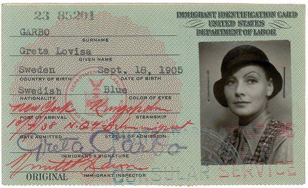 В Бостоне пойдет с молотка документ Греты Гарбо. удостоверение личности Греты Гарбо