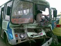 В Казани столкнулись три пассажирских автобуса