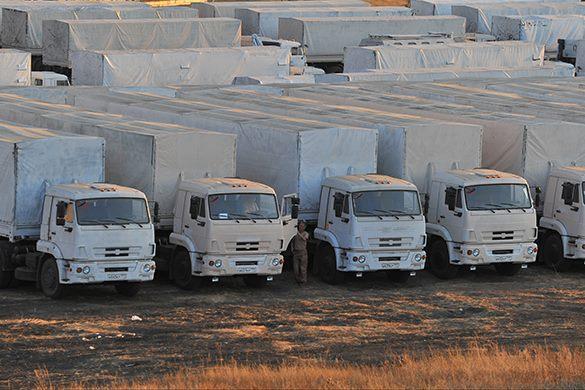 Колонна с гуманитарной помощью отправилась в Донбасс. Донбасс получит новую партию гумпомощи