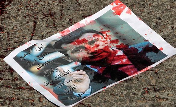 Проамериканская сирийская оппозиция отказалась ехать на мирные переговоры в Москву. Против кого эти санкции?. Сирийская листовка измазанная кровью