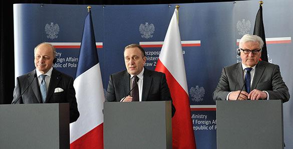 Выход России из ДОВСЕ сильно беспокоит Францию, Польщу и Германию. главы МИД Франции, Польши и Германии