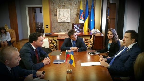 Встреча глав МИД Болгарии и Украины с Саакашвили в Одессе