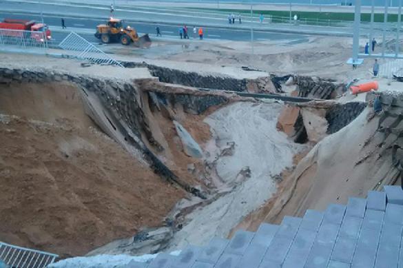 Ливень размыл землю под стадионом «Волгоград Арена»