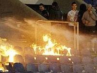 На матче сильнейших команд сербского футбола произошел пожар