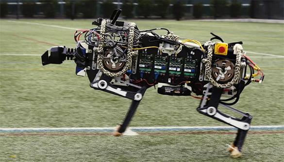 Ученые научили робота перепрыгивать через заграждения.