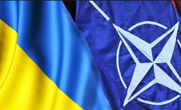 Эстония выступает за оказание военной помощи Украине. Флаги Украины и НАТО