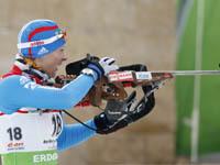 Биатлонистка Зайцева выиграла спринтерскую гонку. biathlon