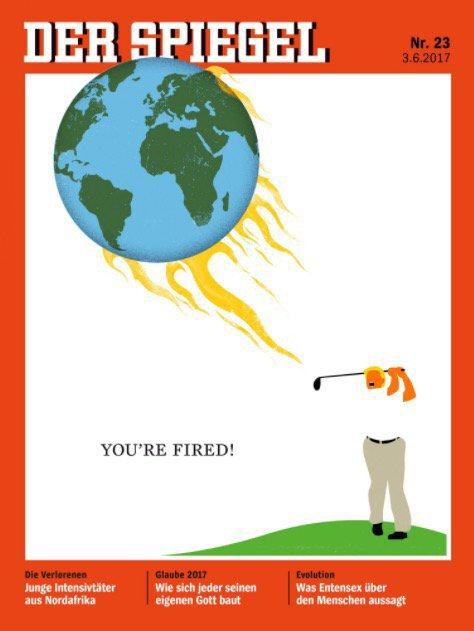 Spiegel разместил на обложке Трампа, играющего в гольф с пылающе