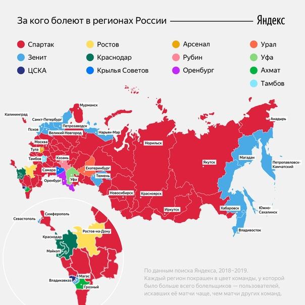 Большинство регионов России болеют за