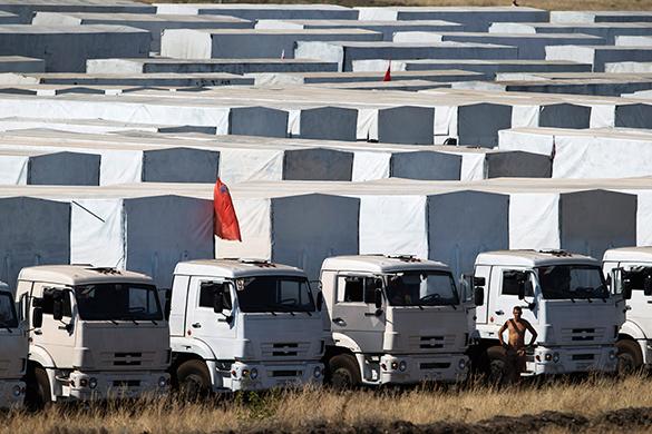 Гуманитарная автоколонна c материалами для посевной отправилась в Донбасс. автоколонна, гумконвой, гуманитарная помощь