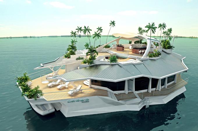Плавающий остров для отдыха знаменитостей