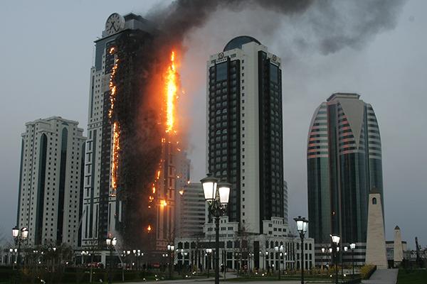 """Пожар в гостиничном комплексе """"Грозный-Сити"""""""