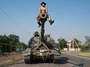 Неуправляемый танк бороздит степи Украины