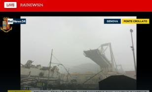 Перед обрушением моста в Генуе в него попала молния. ВИДЕО