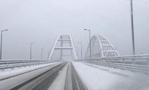Скорость движения по Крымскому мосту ограничили из-за морозов