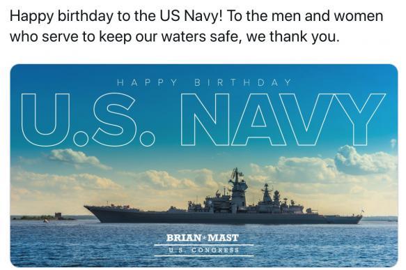 """Конгрессмен """"поздравил"""" флот США фотографией крейсера """"Петр Великий"""""""