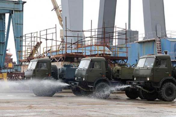 Военные провели дезинфекцию всех предприятий ОПК в Крыму