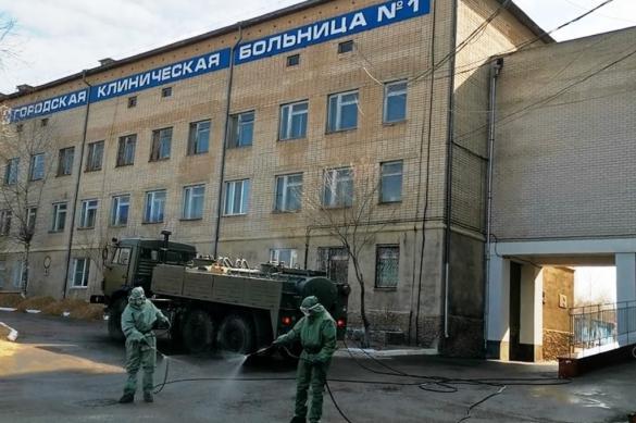 Военные продезинфицировали здание горбольницы в Чите