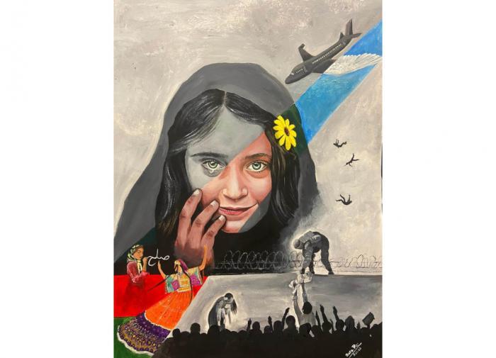 Афганская художница создала образ падения родины