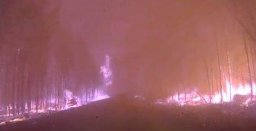 Водитель снял кошмарное видео о поездке по горящей тайге. Осторожно, ненормативная лексика