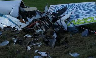 Следком опубликовал кадры крушения легкомоторного самолёта под Калугой