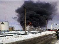 В Уфе загорелся нефтезавод