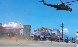 Ми-35 снёс трибуны с чиновниками на военном параде в Индонезии