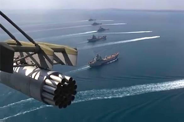 Опубликовано видео маневров десантных кораблей РФ