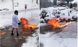 Американское ноу-хау: чистить снег хорошо огнемётом