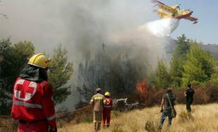 Пожарные тушат лесной пожар на горе Афон