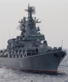 """Ракетный крейсер """"Москва"""" у берегов Сирии"""