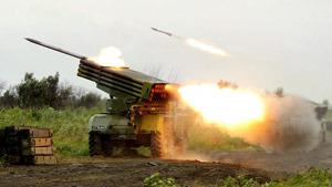 """БМ-21 """"Град"""" открывает огонь"""