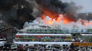 Пожар на крупнейшем вещевом рынке Урала