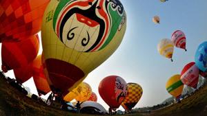 В Китае панду запустили в небо