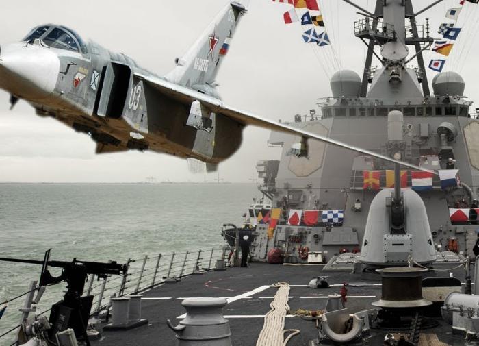 российский самолет выпроваживает эсминец Donald Cook